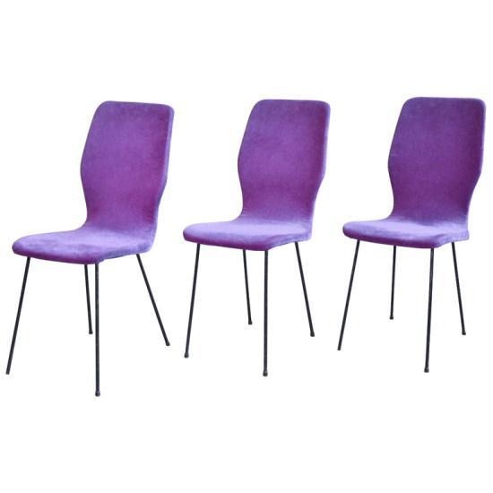 Francesca bolsi antique design 3 sedie in velluto 1950 for Sedie design velluto