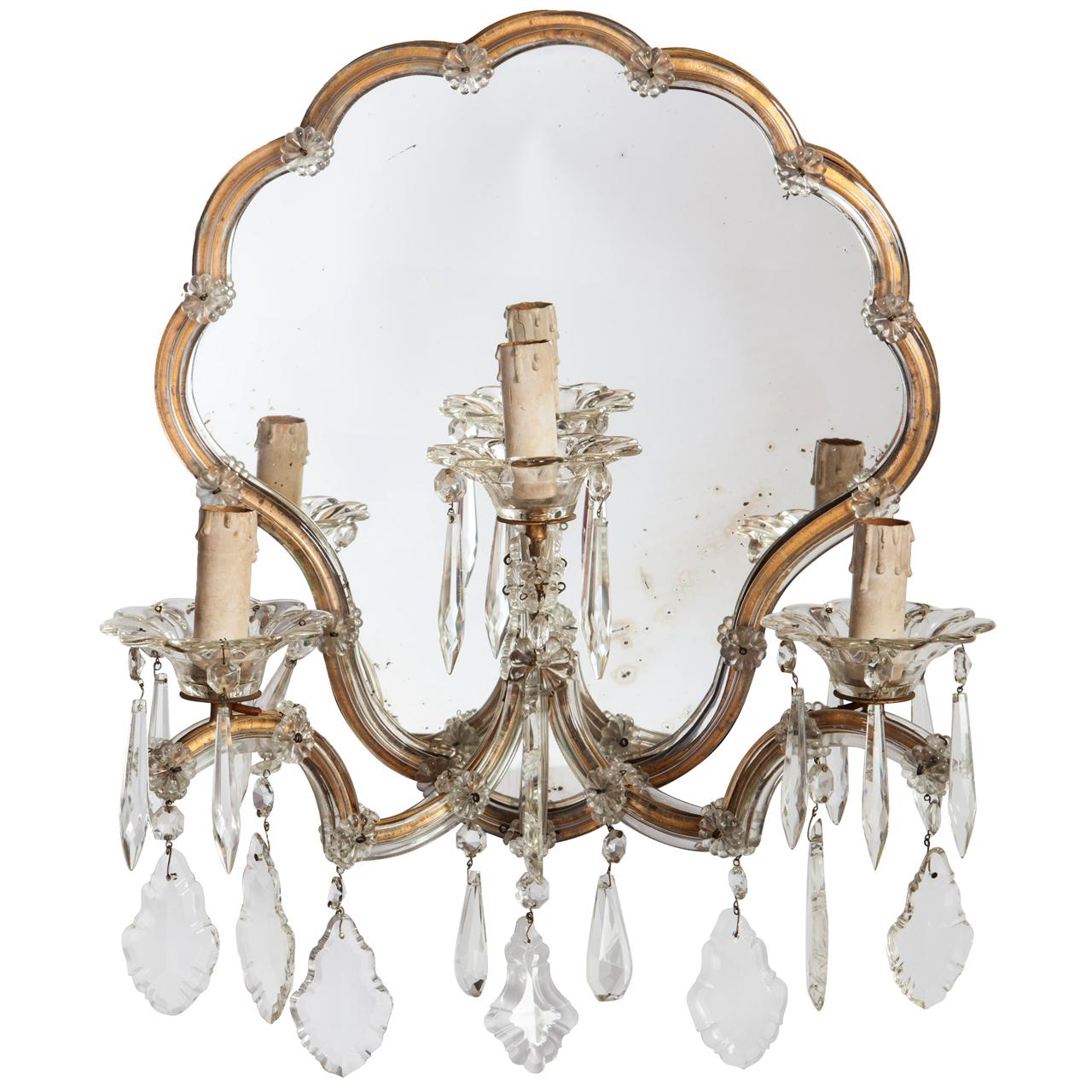 Francesca bolsi antique design applique con specchio originale al mercurio e cristalli - Specchio al mercurio ...